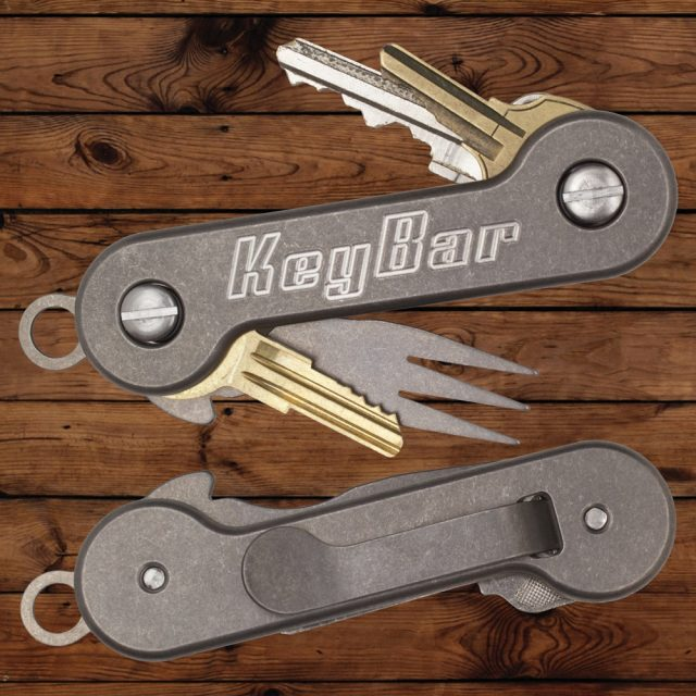 Titanium KeyBar Key Organizer With Milled Clip