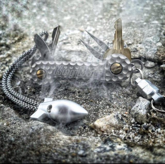 Cratered Sandblasted Titanium KeyBar