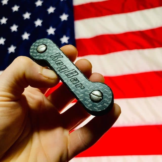 Carbon Fiber KeyBar With American Flag Background