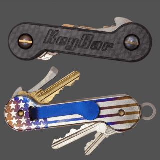 Carbon-Fiber-Multicolor-Titanium-Laser-Engraved-American-Flag-KeyBar-Key-Organizer-EDC-Tool
