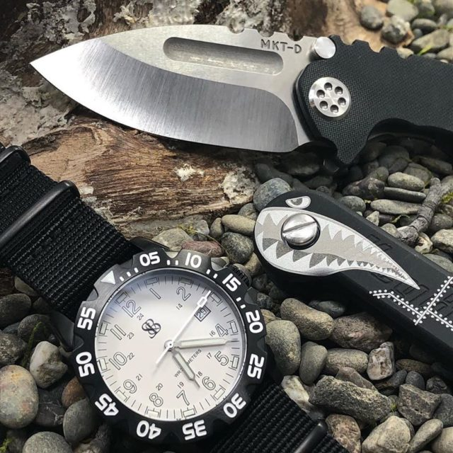 Black Anodized Aluminum Bomber With Custom Knife and Watch