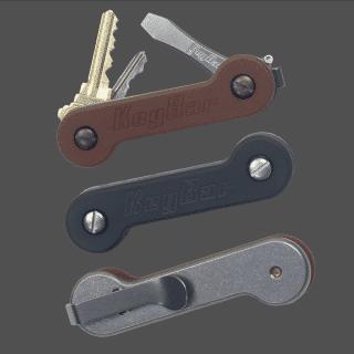 Natural-and-Black-Micarta-Titanium-KeyBar-with-Deep-Carry-Clip-Key-Organizer-EDC-Tool