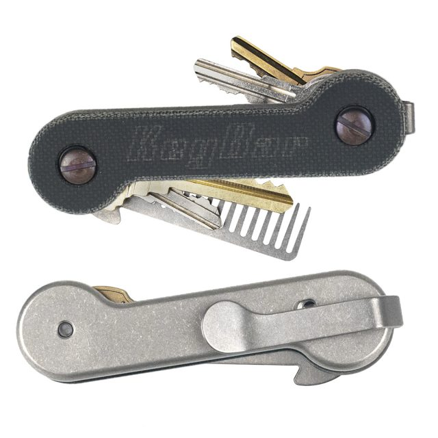 Black-Canvas-Micarta---Aluminum-KeyBar-Key-Organizer-with-Titanium-Deep-Carry-Pocket-Clip-EDC-Tool-White-Background