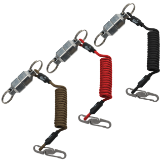 Coyote-Tan,-Red-or-Black-Lanyard-with-Titanium-Double-Ended-Carabiner-and-Large-Aluminum-MagNut-Quick-Release-Set-by-KeyBar-Key-Organizer-EDC-Tool-White-Background