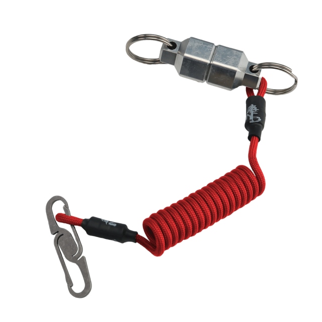 Red-Lanyard-with-Titanium-Double-Ended-Carabiner-and-Large-Aluminum-MagNut-Quick-Release-Set-by-KeyBar-Key-Organizer-EDC-Tool-White-Background