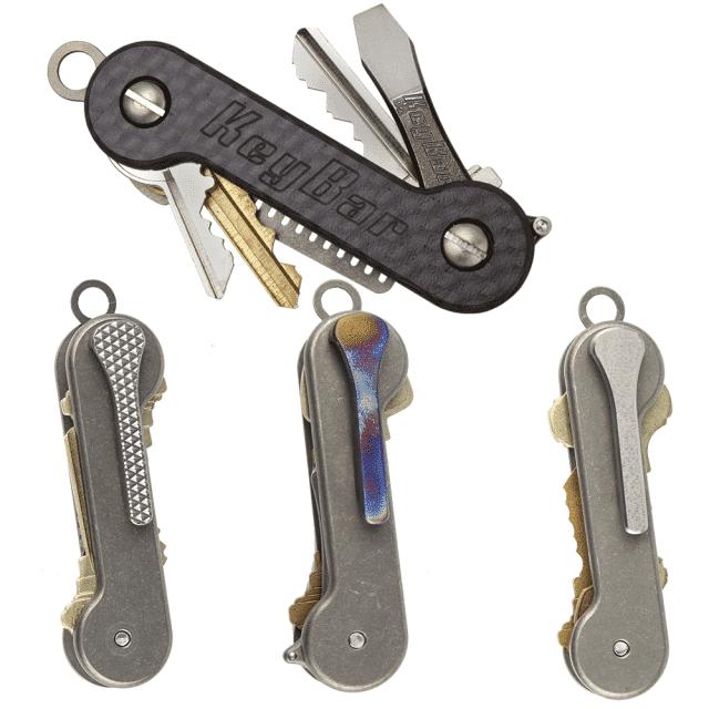 Updated-Carbon-Fiber-Titanium-Milled-Clip-KeyBar-Key-Organizer-EDC-Tool
