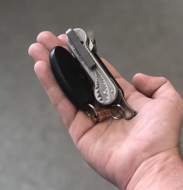 Enhanced Deep Carry Clip Attached To Bomber KeyBar