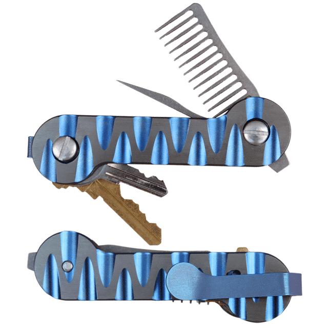 Titanium Blue Carved KeyBar Key Organizer