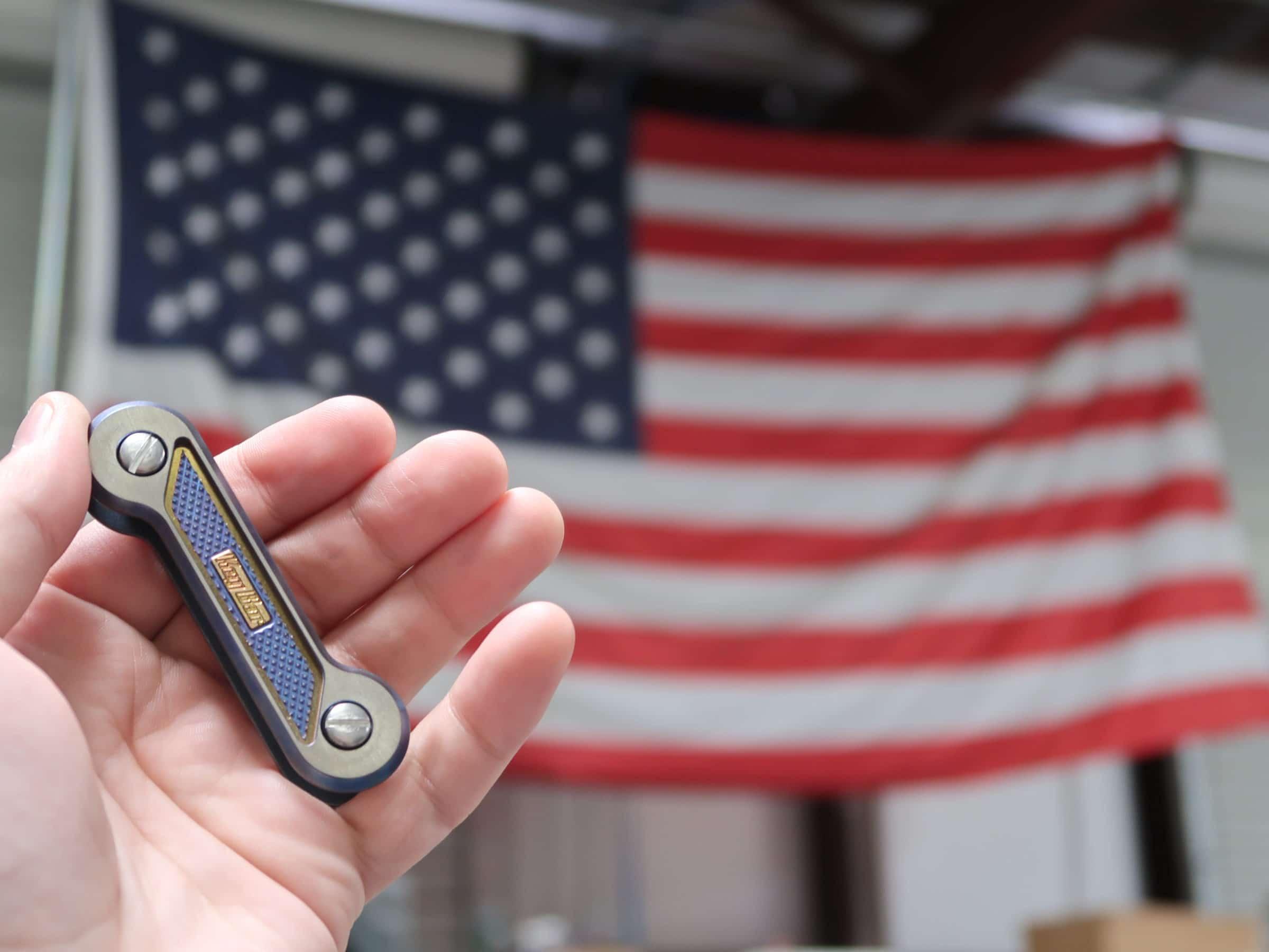 Blue Gilded Diamond Crosshatch KeyBar With American Flag
