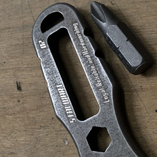 Zoomed In Photo of Laser Engraving on The Stalwart Tool