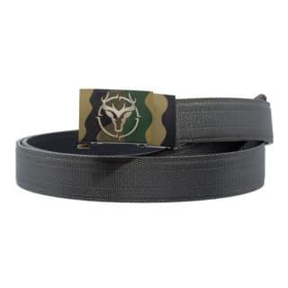 Buck Engraved Camo Buckle Gun belt grey nylon