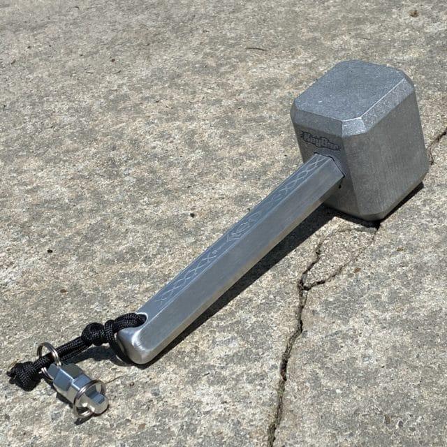 Billet Aluminum Hammer on Concrete 2 by KeyBar Key Organizer EDC Tool