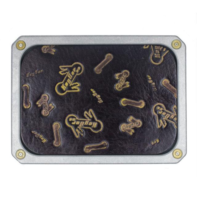 Billet-Aluminum-Coin-Catcher-Tray-with-KeyBar-logo-leather-insert-by-KeyBar-Key-Organizer-EDC-Tool