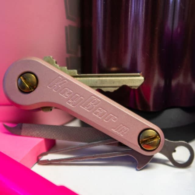 Rose gold KeyBar JR cerakote pink nail file tweezers key organizer