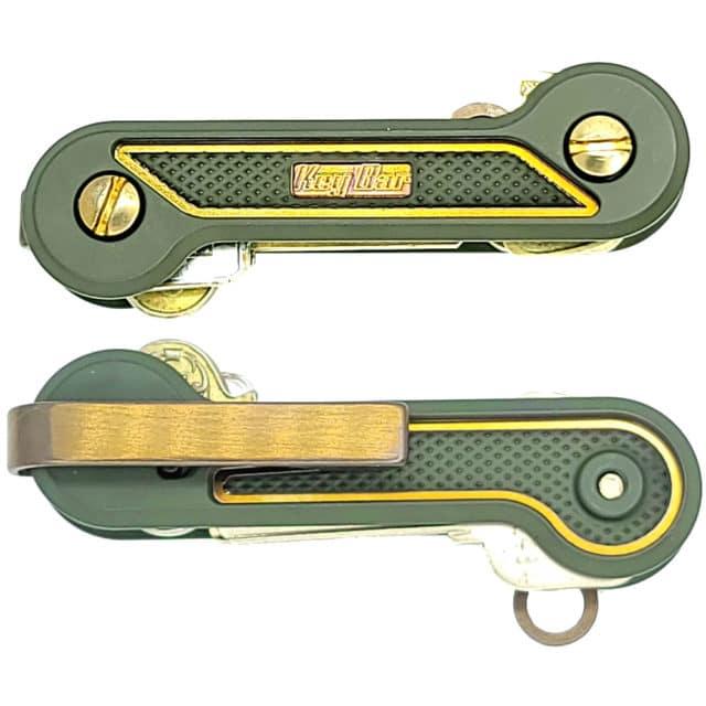 Green-Cerakoted-Titanium-Diamond-Crosshatch-with-Bronze-Highlights-KeyBar-Key-Organizer-EDC-Tool