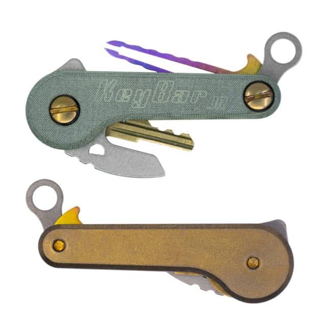 Green Linen Micarta and Anodized Bronze Titanium KeyBar JR