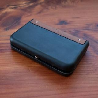KeyBar Matte Black Brown Leather Aluminum Card Catch wallet