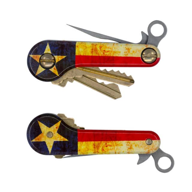 Lone Star Aluminum KeyBar JR UV print Texas Flag Key Organizer