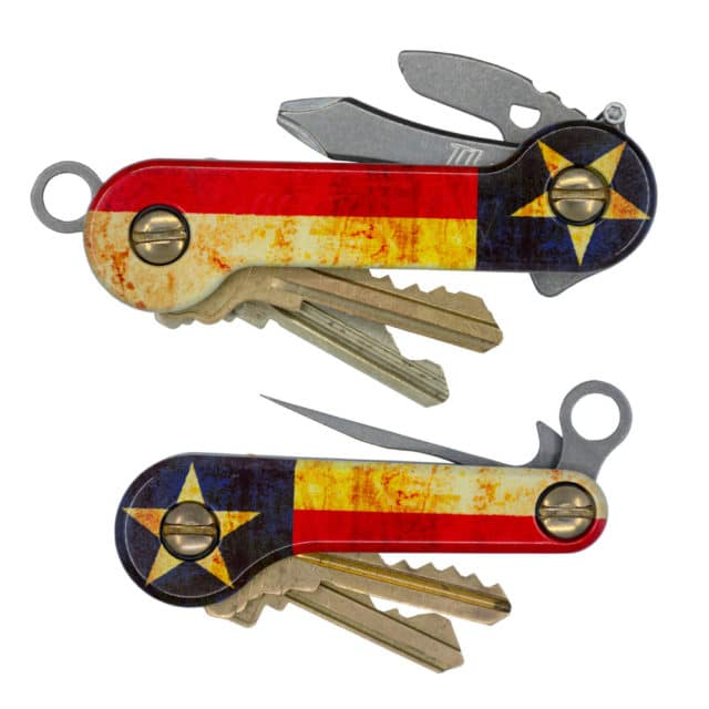 Lone Star Aluminum KeyBar and KeyBar JR uv print Texas flag key organizer