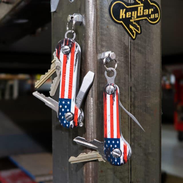 The American Aluminum KeyBar and KeyBar JR UV printed key organizer tool organizer