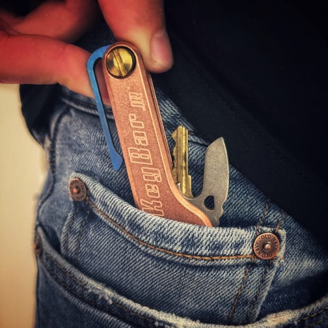 Solid Copper KeyBar JR with Blue Anodized Titanium Reversible Pocket Clip