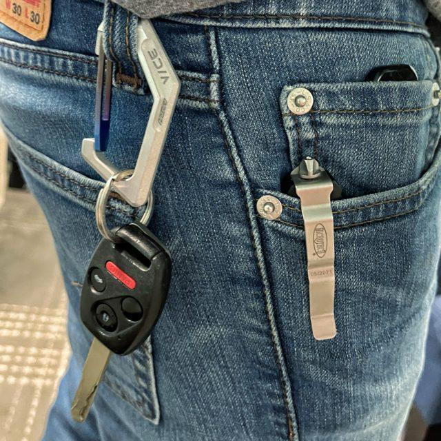 KeyBar and Vice Hardware Billet Aluminum Carabiner with Titanium Gate
