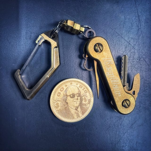 Solid Bronze KeyVice Carabiner KeyBar Vice Hardware with solid brass KeyBar and MagNuts